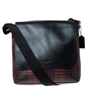Coach Black/Red Coated Canvas and Leather Messenger Bag