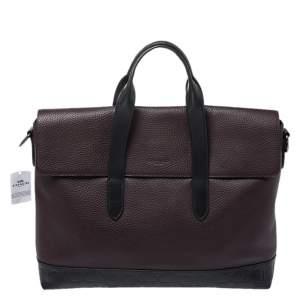 Coach Burgundy/Black Leather Hamilton Portfolio Briefcase
