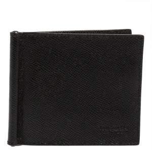 Coach Black Leather Money Clip Bifold Wallet