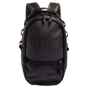 Coach Black Signature Coated Canvas and Leather Pacer Coach Patch Backpack