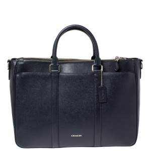 Coach Navy Blue Grained Leather Double Zip Briefcase Bag