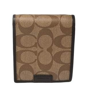 Coach Brown Coated Canvas and Leather Bi Fold Wallet