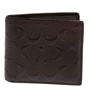 Coach Dark Brown Signature Leather ID Compact Bifold Wallet