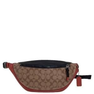 حقيبة خصر كوتش وارين جلد و كانفاس مقوى بالشعار ثلاثي اللون