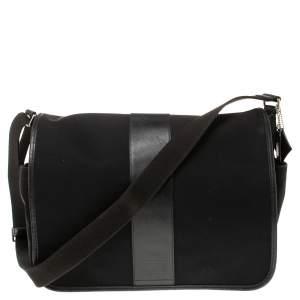 Coach Black Nylon and Leather Trim Large Messenger Bag