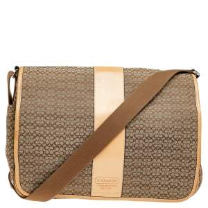 Coach Beige/Brown Signature Canvas And Leather Diaper Messenger Bag