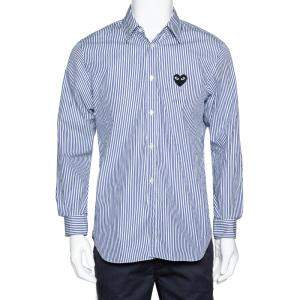 Commes des Garcons Play Blue Striped Cotton Logo Detail Shirt M
