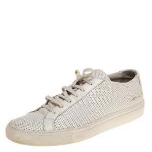 Common Projects White Perforated Leather Achilles Lace Up Sneaker Size 43
