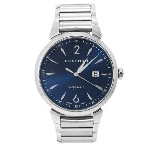 Concord Blue Stainless Steel Impresario 06.1.14.1124 Men's Wristwatch 41 mm