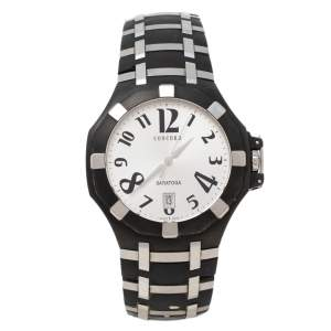 Concord Silver PVD Stainless Steel Rubber Saratoga 14.P1.1895.1 Men's Wristwatch 43 mm