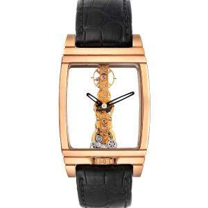 Corum 18K Rose Gold Golden Bridge Classic B113/01043 Men's Wristwatch 34 x 51 MM