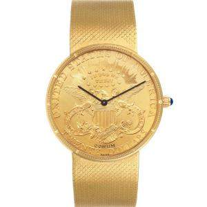 Corum Champagne 18K Yellow Gold 20 Dollars Double Eagle Coin Manual 1897 Men's Wristwatch 36 MM