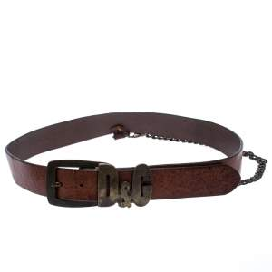 D&G Brown Leather Chain Detail Logo Buckle Belt 95CM