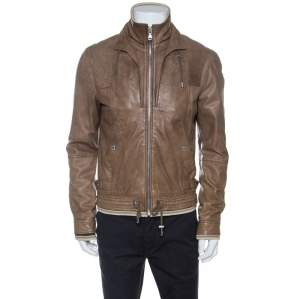 D & G Brown Leather Rib Knit Trim Bomber Jacket XL
