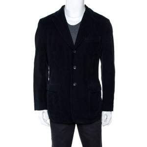 D&G Navy Blue Corduroy Three Buttoned Blazer XL