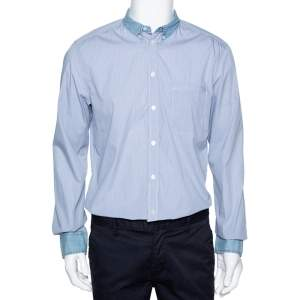 D&G Blue Checked Cotton Denim Trim Long Sleeve Brad Shirt XL