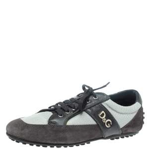DandG Black/Grey Suede, Mesh and Leather Low Top Sneakers Size 44