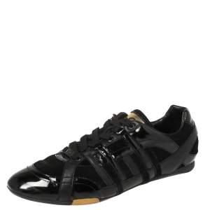 حذاء رياضى دولتشى أند غابانا منخفض من أعلى أربطة جلد لامع وسويدي أسود مقاس 43