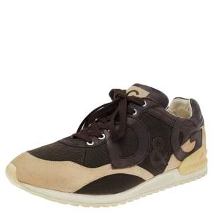 Dolce & Gabbana Brown/Beige Mesh And Suede Sneakers Size 44