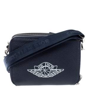 Dior x Jordan Navy Blue Leather Wings Messenger Bag