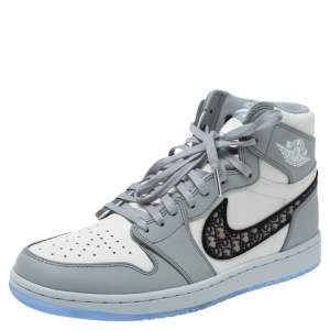 Dior x Air Jordan 1 Grey Leather Air Dior OG High Sneakers Size 42.5