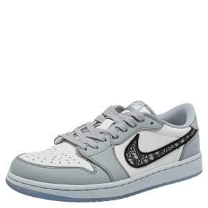 Dior x Jordan Grey/White Leather Air Jordan 1 Low Top Sneakers Size 41