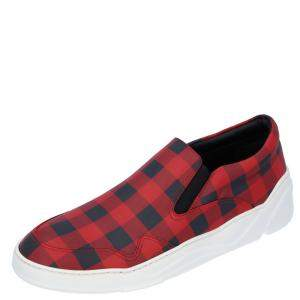Dior Red Leather Check Slip-on Sneakers Size EU 43