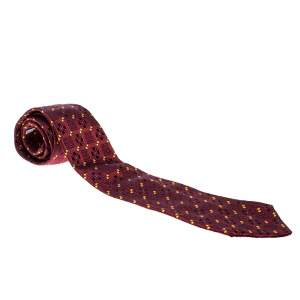 Dior Red Patterned Jacquard Silk Traditional Tie