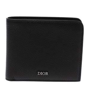 Dior Black Leather Bi Fold Compact Wallet