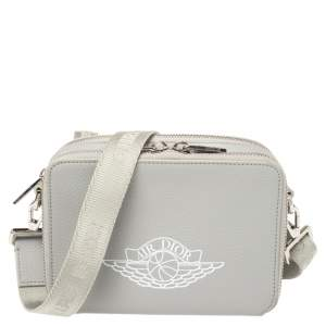 Dior x Jordan Grey Leather Wings Messenger Bag