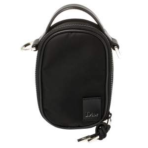 Dior Black Satin and Leather Crossbody Pouch
