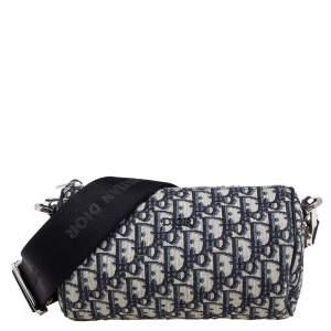 Dior Beige/Black Oblique Jacquard Roller Messenger Bag
