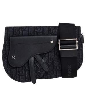 Dior Black Oblique Canvas and Leather Saddle Messenger Bag