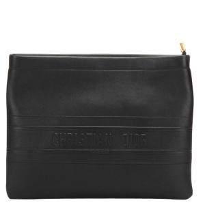 Dior Black Calf Leather Clutch Bag