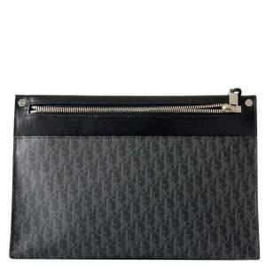 Dior Black/Grey Oblique Leather Clutch Bag