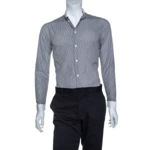 Dior Monochrome Striped Cotton Mandarin Collar Button Front Shirt XS