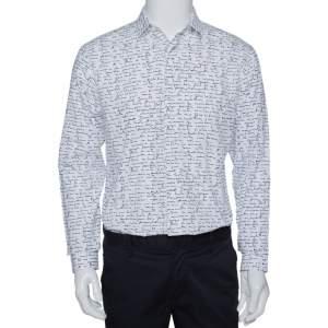 Dior Homme White Handwriting Print Cotton Long Sleeve Shirt M