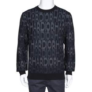 Dior Homme Black Hardior Patterned Jacquard Wool Blend Pullover L