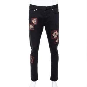Dior Black Denim Floral Patch Appliqued Tapered Jeans M