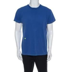 Dior Blue Cotton Crewneck T Shirt L