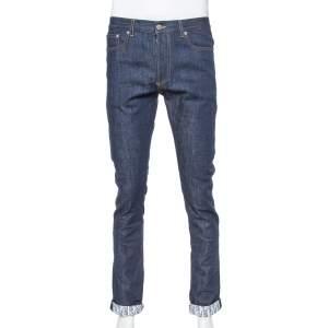 Dior Homme Navy Blue Denim Oblique Print Detail Slim Fit Jeans M