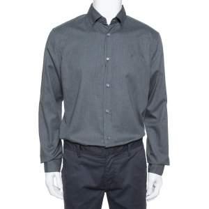 Louis Vuitton Dark Grey Textured Cotton Button Front Shirt XL