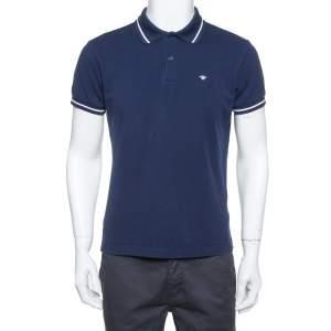 Dior Homme Navy Blue Cotton Pique Striped Collar Polo T-Shirt L