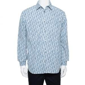 Dior Homme Blue Denim Oblique Motif Long Sleeve Button Front Shirt S