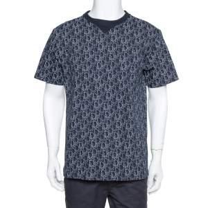 Dior Navy Blue Cotton Oblique Motif Print Crewneck T-Shirt M
