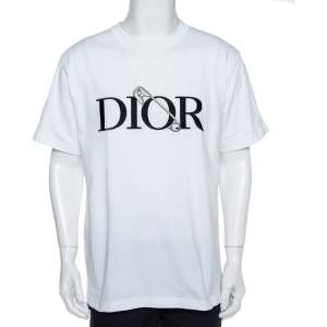 Dior White Jersey Logo Embroidered Judy Blame T-Shirt L