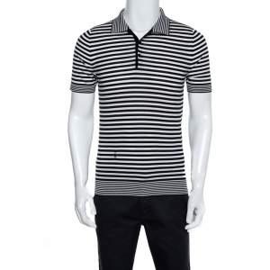 Dior Monochrome Striped Wool Polo T-Shirt M