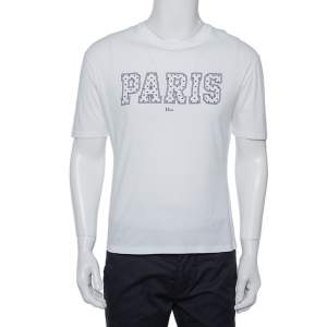 Dior Homme White Paris Printed Cotton Crewneck T-Shirt S
