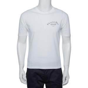 Dior Homme White Logo Printed Cotton Crewneck T-Shirt S
