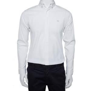 قميص ديور مزين شعار الماركة معدن أزرار أمامية قطن أبيض مقاس وسط (ميديوم)